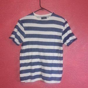 Zara man tee shirt blue and white striped small